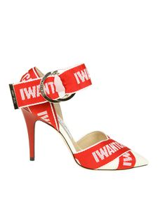 Jimmy Choo - Red and white Bea 100 Logo Tape pumps