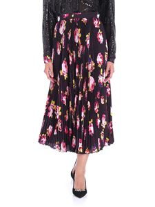 MSGM - Black pleated floral skirt