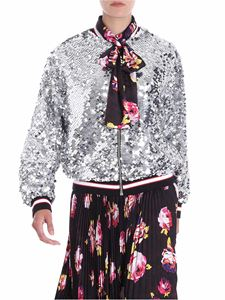 MSGM - Bomber argento in paillettes