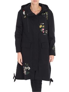 Red Valentino - Black coat with floral embroidery