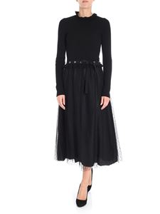 Red Valentino - Black knitted dress with plumetis