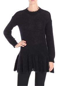 Red Valentino - Black pierced sweater with ruffles