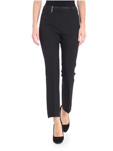 Peserico - Black Milano fabric kick flare trousers