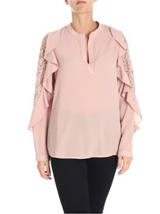 Blugirl - Antique pink blouse with ruffles and lace
