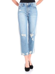 MOTHER - Light-blue jeans with bleached stripes