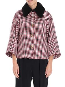 Red Valentino - Houndstooth jacket with fur insert