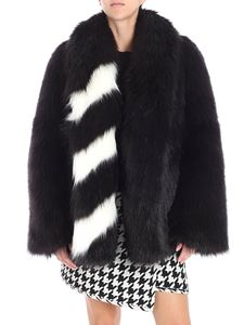 Off-White - Black overfit eco-fur jacket