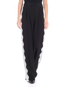 Stella McCartney - Black silk trousers with lace inserts
