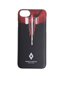 Marcelo Burlon - Black and red Wings Barcode Iphone 8 cover