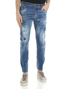 Dsquared2 - Blue destroyed Tidy Biker jeans
