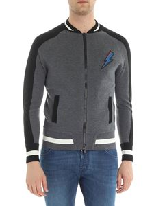 Givenchy - Gray and black knitted bomber jacket with zip