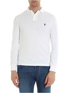 POLO Ralph Lauren - White long sleeve piqué polo with logo