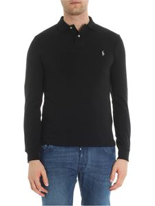 POLO Ralph Lauren - Black long sleeve piqué polo with logo