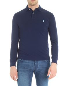 POLO Ralph Lauren - Blue long sleeve piqué polo with logo