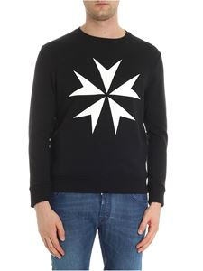 Neil Barrett - Black crewneck sweatshirt with white prints