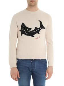 Gucci - Beige crew neck pullover with shark embroidery