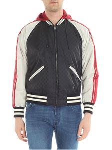 Gucci - Black bomber jacket with GG jacquard pattern
