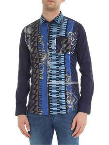 Versace Jeans - Optical print shirt in shades of blue