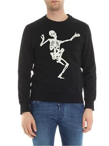 Alexander McQueen - Black crewneck sweater with skeleton embroidery
