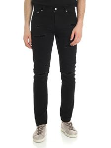 Alexander McQueen - Black slim fit jeans with velvet tears