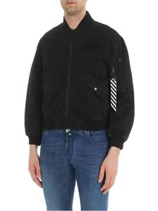 Off-White - Black bomber jacket with logo patch
