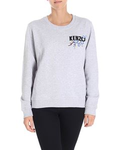 Kenzo - Gray sweatshirt with multicolor logo embroidery