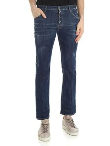 Dsquared2 - Dark blue Cropped Jeans Flare with vintage look