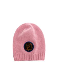 Fendi - Pink beanie with logo patch