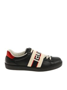 Gucci - Black sneakers with branded elastic band