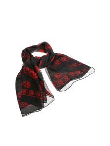 Alexander McQueen - Black scarf with red skull print