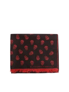Alexander McQueen - Black and red scarf with embroidered skulls