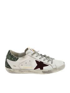 Golden Goose Deluxe Brand - White Superstar sneakers with green glitter