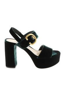 Prada - Dark green velvet sandals