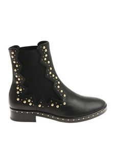 MARC ELLIS - Black ankle boots with golden inserts