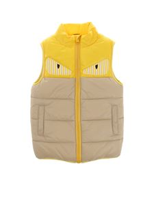 Fendi Jr - Yellow and beige padded waistcoat with logo