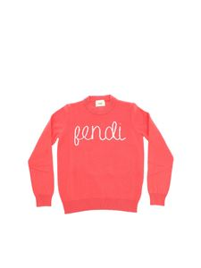 Fendi Jr - Dark pink pullover with pink logo embroidery