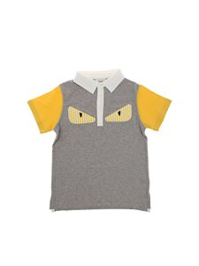 Fendi Jr - Gray and yellow polo with padded logo
