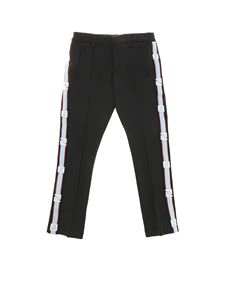 Fendi Jr - Black trousers with side branded bands