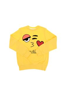 Fendi Jr - Yellow Fendilove sweatshirt with flock print