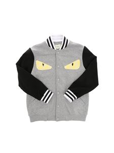 Fendi Jr - Gray and black bomber with logo