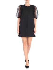 Red Valentino - Black dress with plumetis tulle sleeves