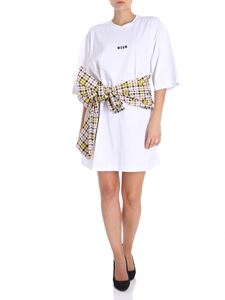 MSGM - White mini dress with checked bow
