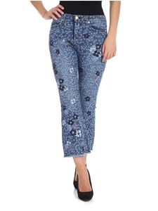 Michael Kors - Blue flared jeans with floral prints and embroidery
