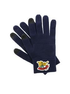 Kenzo - Blue touch screen gloves with rubberized logo