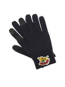 Kenzo - Black touch screen gloves with rubberized logo