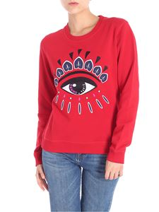 Kenzo - Red sweatshirt with multicolor Eye embroidery