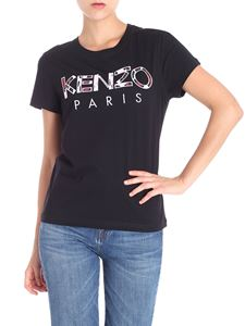 Kenzo - Black t-shirt with Paris logo embroidery