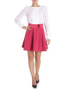 Elisabetta Franchi - White and raspberry dress with decorative buttons