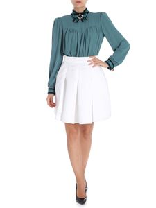 Elisabetta Franchi - Teal and white short dress with branded bow