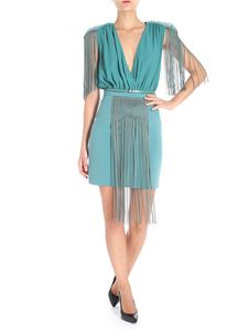 Elisabetta Franchi - Teal colored dress with fringes and rhinestones